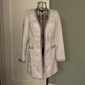 Cream sueded car coat w embroidered detail 6 NWOT